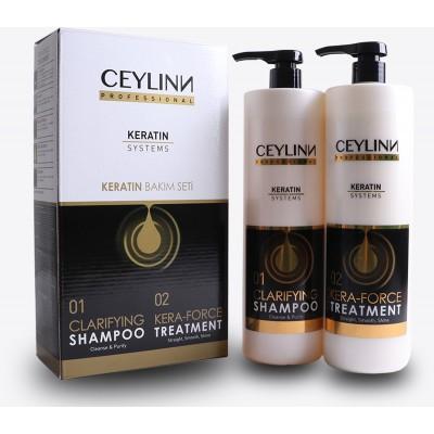 Vlasový šampon + kůra na vlasy s keratinem / 2x 1000 ml